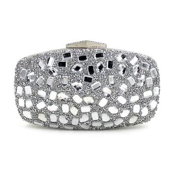 Women New Diamond Evening Clutches Bags Girl Party Wedding Purse Noble silver Clutch Bag With Chain