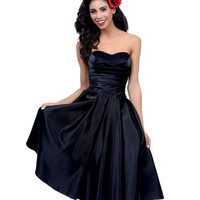 Unique Vintage Black Satin & Tulle Strapless Dress