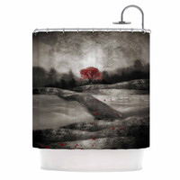 "Viviana Gonzalez ""The Red Sounds And Poems 1"" Black Tree Shower Curtain"