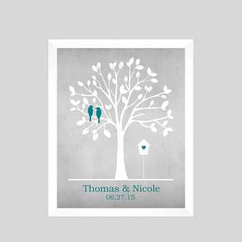 Unique Wedding Gift, Wedding Print, Family Tree Print, Gift for Wife, Personalized Custom Love Birds, Wedding Art, CUSTOMIZE YOUR COLORS