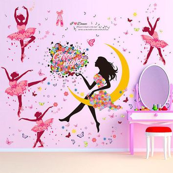 DCK9M2 DIY Wall Sticker Butterfly Wall Decals Ballet Girl Poster Stickers for Home Decor Living Room Wall  Decoration adesivo de parede