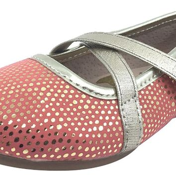 Livie & Luca Girl's Aurora Golden Speckle Coral Pink with Trim Slip On Ballet Flat with Criss-Crossing Elastic Straps