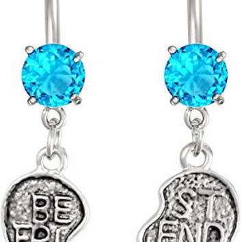 14g Surgical Steel Set of Best Friend Matching Aqua Jeweled Heart Belly Button Rings