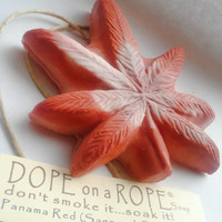 Dope on a Rope Soap - Hemp Oil Soap on a Rope - Panama Red - Sage and Cedar Essential Oil - Hippy Bohemian Retro - 420 Hemp Art Gifts