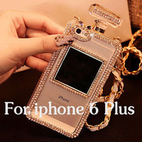 Luxury Diamond Bling Perfume Bottle Lanyard Chain Case For iphone 6 Plus 5 5s for Samsung Galaxy S4 S5 S6 Note 3 4 TPU Cover