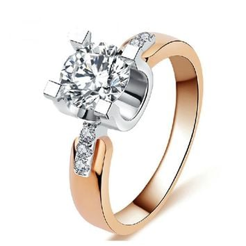 SHUANGR Rose Gold Color Wedding Rings For Women Engagement Jewelry Vintage ring zirconia Accessories Size 7/8/9