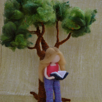 Needle felted scene: Tree and girl reading a book . Made  to Order