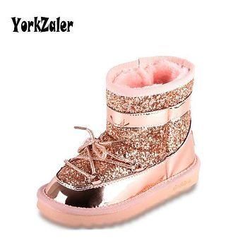 Yorkzaler Chldren's Winter Boots For Girls Kids Snow Boots 2018 New Fashion Sequins Plush Rubber Shoes Waterproof For Toddler