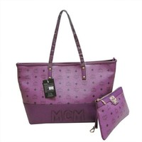 MCM Women Shopping Leather Handbag Tote Satchel Shoulder Bag-1