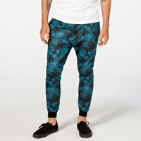 Elwood Blue Tropical Floral Mens Jogger Pants Black/Blue  In Sizes