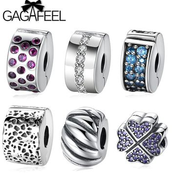 GAGAFEEL Solid 925 Sterling Silver Clip Charm Beads Fit Pandora Original Bracelet Bangle Lucky Clover Stopper Beads For Jewelry