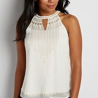 chiffon tank with embroidery and beading | maurices