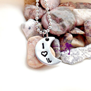 "Small Crescent Moon Pendant ""I <3 U"" Necklace Personalized Necklace Moon Jewelry I love you to the moon and back Girlfriend Gift"