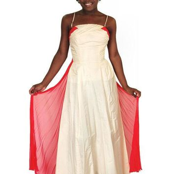 Vintage Strapless Silk Ball Gown Cream & Red 1940S 32-24-Free