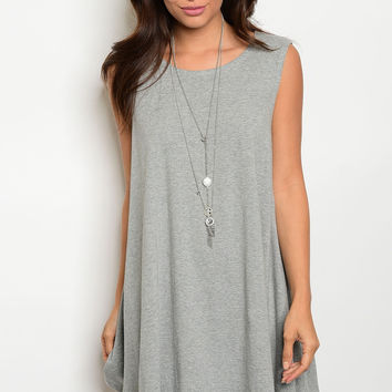 Heather Grey Jersey Tunic Dress