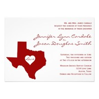 Texas Themed Red White Wedding Invitations