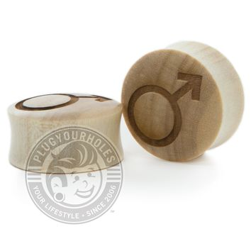 Male Symbol - Engraved Wood Plugs