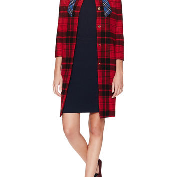 Love Moschino Women's Plaid Bow Patch Collarless Coat -