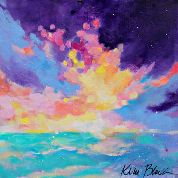 "Abstract Seascape, Clouds, Skyscape Painting, Sunrise Original, Acrylic ""Clouds and Sea"" 12x12"""