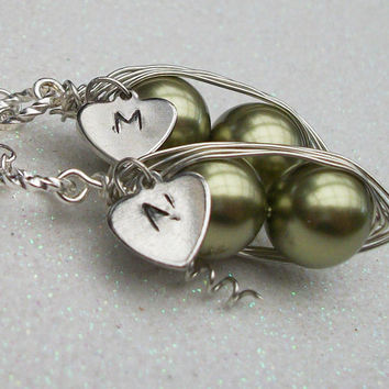 Best Friends or Twins Peas in a Pod with Personalized Heart Silver Pendant Necklace You Choose the Initial