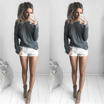 Dark Gray Long Sleeve Oblique Collar T-Shirt