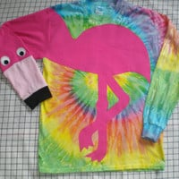 Funky tye dye Long sleeve flamingo t-shirt with applique. Flamingo shirt. Adult Size small, medium, large or XL