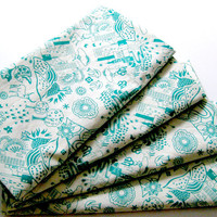 Cloth Napkins - Sets of 4 - Green White City - Dinner, Table, Everyday, Wedding