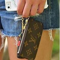 LV Tide brand classic models women's fashion zipper coin purse key case Coffee print