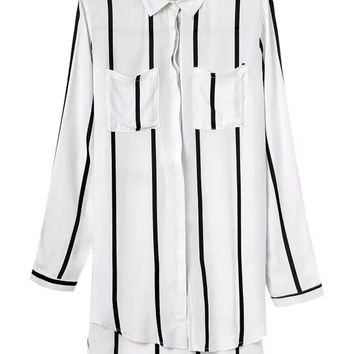 White Striped Pocket Long Sleeve Shirt Collar Blouse