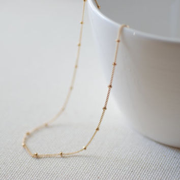 14k Gold Filled Beaded Necklace, Gold Choker Necklace, Gold Satellite Chain, Gold Necklace, Minimalist Necklace,beaded chain,gold bead chain