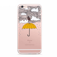 "Stormy Weather Umbrella Whimsical Case for iPhone 6 6s 4.7"" TPU"