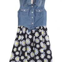 Denim Tie Front Daisy Dress