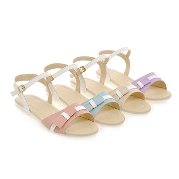 Bow Flats Sandals Ankle Straps Shoes Woman