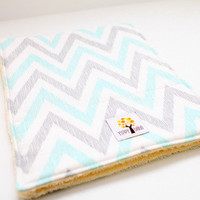 Baby Burp Cloth Set of 2 Chevron Turquoise & Gray from Yippy BeBe