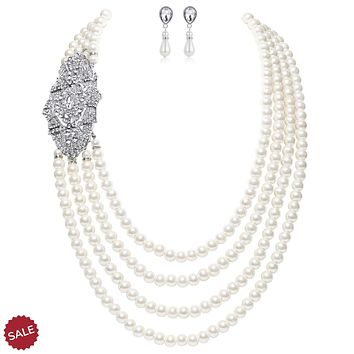 1920s Vintage Gatsby Bridal Multilayer Pearl Necklace Earrings Jewelry Set with Brooch