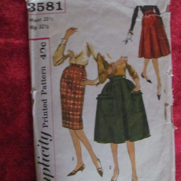 Spring Fever Sale 1960's Simplicity Sewing Pattern, 3581! Waist 23 1/2, Hip 32 1/2, Size Small to Medium Women's, Skirts, Summer & Spring, F