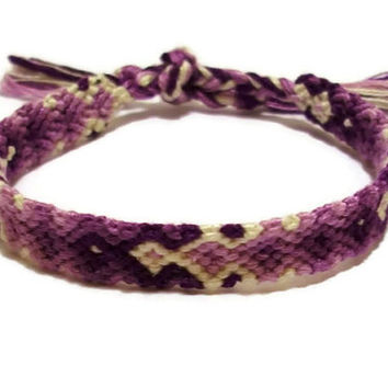 Purple Gradient Arrowhead Pattern Embroidery Friendship Bracelet, Ombre Purple Arrow Pattern Bracelet