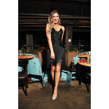 Party Like Gatsby Fringe Dress (Black)