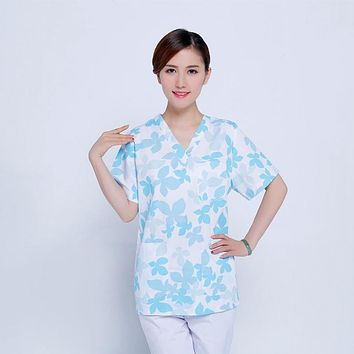 Men Women Medical Clothes Nursing Clinic Tops / Pants Short Sleeve Surgical Scrubs