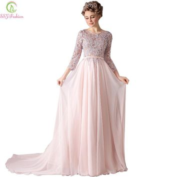 New High-grade Sweet Pink Chiffon Lace Embroidery 3/4 Sleeves Long Evening Dress Bride Banquet Elegant Long Prom Dress