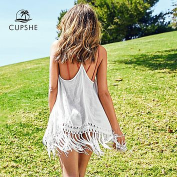 CUPSHE Sexy White Spaghetti Straps Tassel Cover Ups 2019 Women Solid Sleeveless Beach Wearing Top Clothing