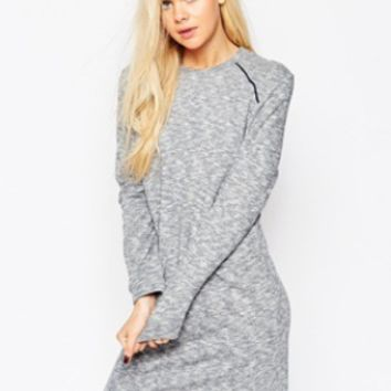 Gray Long Sleeve Slim Dress