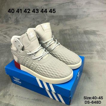 DCCK9ME Adidas TUBULAR INVADER STRAP LOS ANGELES Men Grey High-Top Fashion Skate Shoes