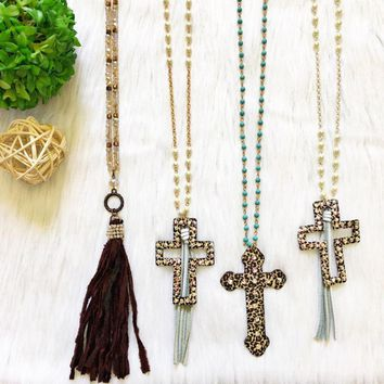 Tassel, Hollow, and Solid Leopard Cross Necklaces