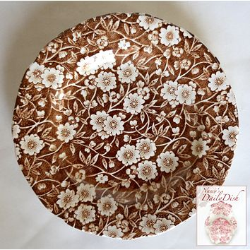 Vintage Floral Chintz Brown Transferware Calico Plate Staffordshire