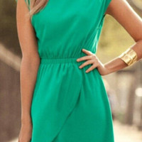 Green Asymmetrical Chiffon Dress