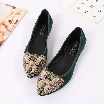 Sweet Women's Flat Rhinestone Butterfly Boat Shoes Women Ballet Princess Bridal Shoes Wedding Women's moccasins Flats Plus Size