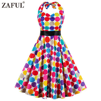 ZAFUL Brand Sleeveless Red Dot Robe Vintage Women Dress 50s Retro Feminino Rockabilly Summer Party Dresses Female Vestidos