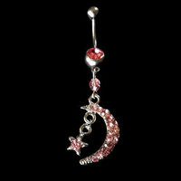 Moon Belly Ring with Star and Pink bead Accent Piercing Jewelry