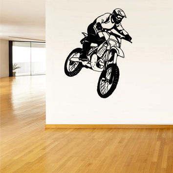 rvz1510 Wall Vinyl Sticker Bedroom Decal Tribal Dirt Bike Moto Jump Motorcycle